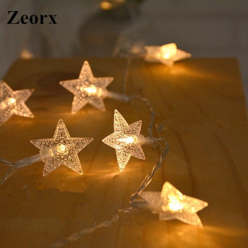 Zeorx 1/2 м Светодиодные строки горит звезда светодиодные гирлянды Рождество Свадебные украшения огни Батарея работать гирляндой