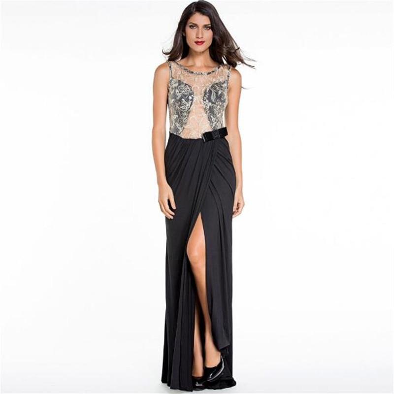 Echoine vestidos sexy black lace oco out bordado malha envoltório frente alta dividir longo maxi vestidos formais dress