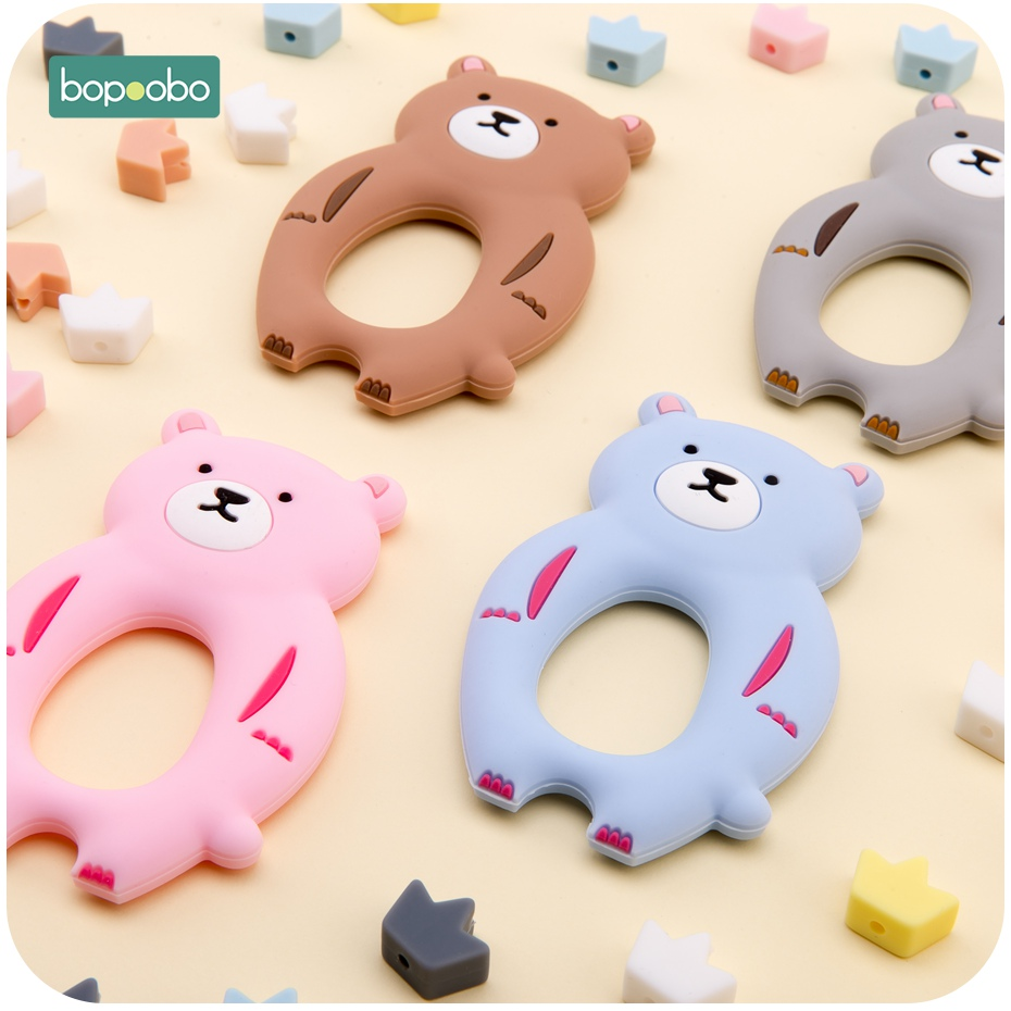 Bopoobo 8PC Silicone Baby Teethers  Animal Bear BPA Free Silicone Beads Can Chew Teething Toys DIY Teether Necklace Accessories