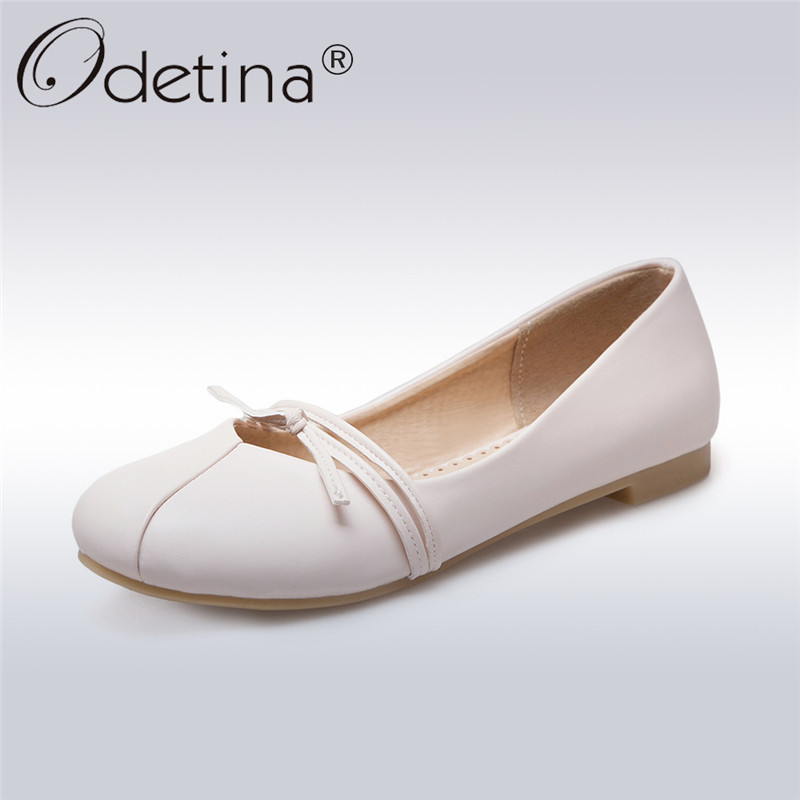 Odetina 2018 New Fashion Women Ballet Flats For Women Slip On Round Toe Casual Footwear Ladies Basic Flat Shoes Plus Size 34-43 цена и фото