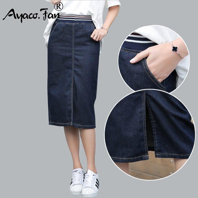 New Denim Skirts 2019 Women Summer Girls Office Lady Blue Package Hip Pencil Midi Jeans Skirt Autumn Bodycon Femininas