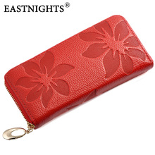 New Designer Genuine Leather womens wallet Flower Pattern Ladies Purse Name Brand Clutch Bag WL039