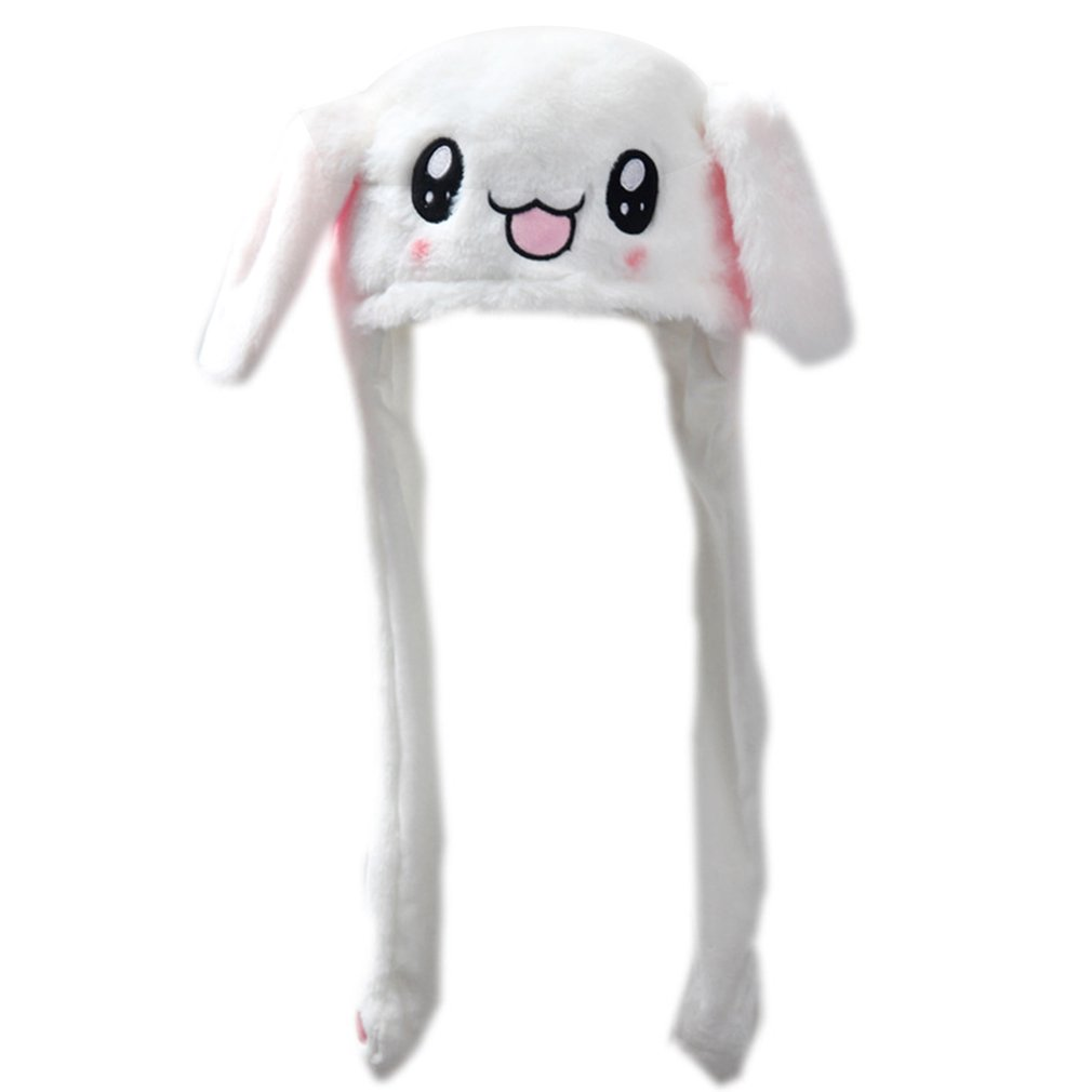 Plush Moving Rabbit Ears Hat Funny Hand Pinching Airbag Magnet Soft Controllable Long Cute Animal Gift Ear