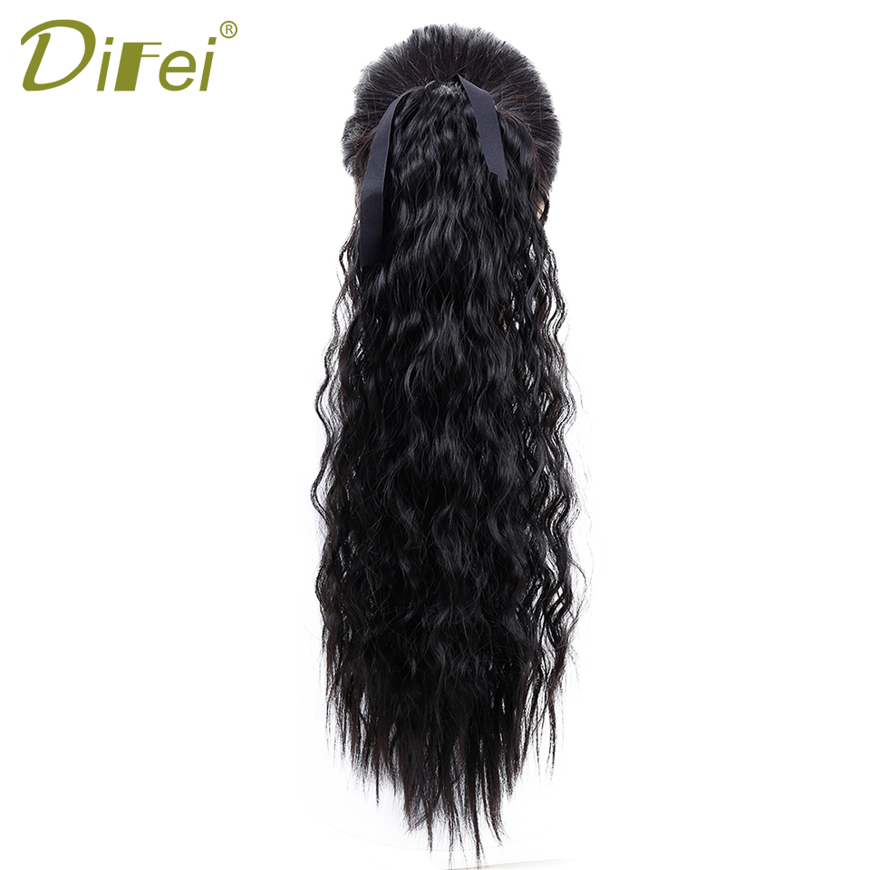 DIFEI Long Curly Ponytail 9 Colors Synthetic High Temperature Fiber Drawstring Hair Ponytail For Women window valance