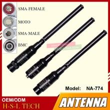 Stainless Steel Pull Rod Antenna Walkie Talkie Telescopic Antenna BNC/SMA 144/430MHz VHF/UHF Two Way Radio Antenna For Baofeng al 800 sma k vhf uhf detachable antenna for walkie talkie black