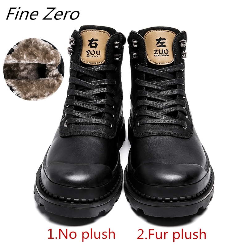 Fine Zero Men's Winter Shoes Warmest Genuine Leather Handmade Men Winter Snow Boots High Quality Leather Men Ankle Boots