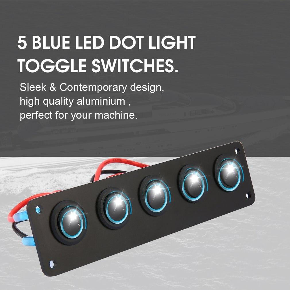 12-24V 5 Gang Round Rocker Toggle Switch Panel Blue LED for RV Boat Yacht Marine
