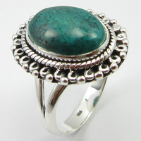 Gem Stone Fashion Jewellery Silver Turquoises Ring Size 8.75 Unique Designed