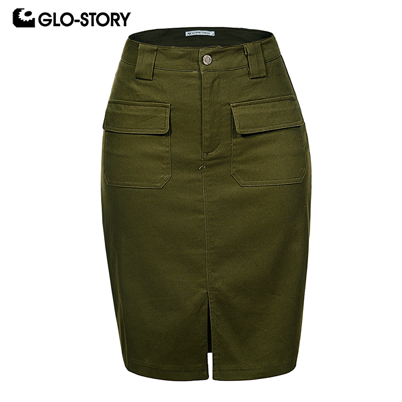 GLO-STORY 2019 Fashion Summer Women Denim Pencil Split Skirt High Waist Sexy Work Wear Ladies Skirts WQZ-1803