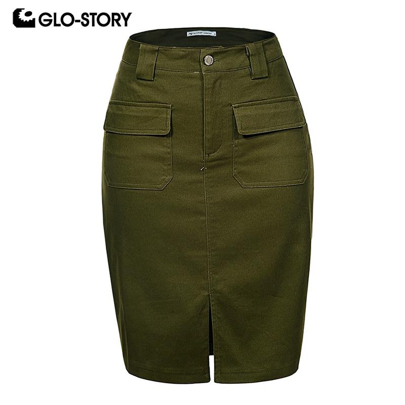 GLO-STORY 2019 Fashion Summer Women Denim Pencil Split Skirt High Waist Sexy Work Wear Ladies Skirts WQZ-1803