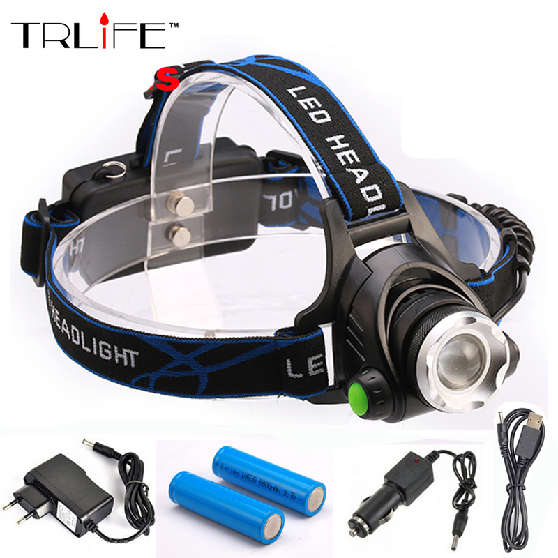 6000Lm Headlight <font><b>LED</b></font> CREE XM-L T6 Headlamp Rechargeable Head Light Lamp+ 2*18560 Battery + Charger +Car Charger