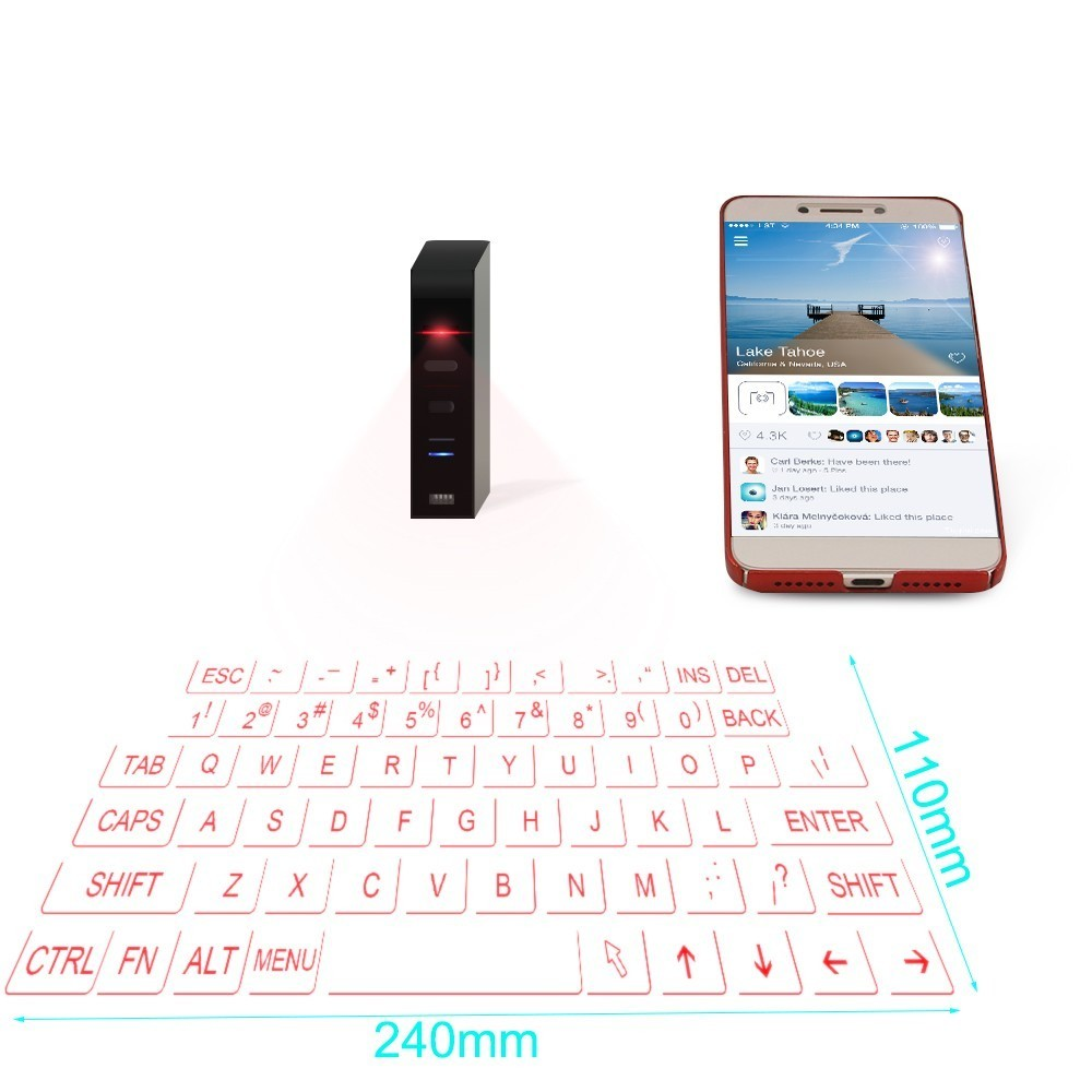 CHYI Wireless QWERTY Bluetooth 3 0 Virtual Keyboard Ergonomic Projection  Laser Multimedia BT Keypad Mini Portable For PC Tablet-in Keyboards from