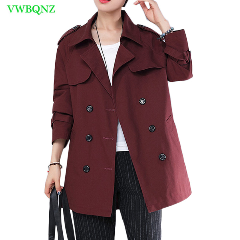 Double-breasted Windbreaker coat Women Korean Long   Trench   Coats Spring and Autumn New Loose Plus size Khaki Outerwear 4XL A779