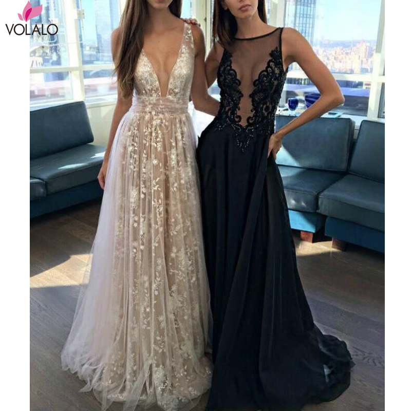 Luxury Sexy Women Vestido White Perspective Lace V-neck Sequin Floor-Length Maxi <font><b>Dress</b></font> <font><b>Open</b></font> <font><b>Back</b></font> Long <font><b>Dress</b></font> Women Party <font><b>Dress</b></font> image