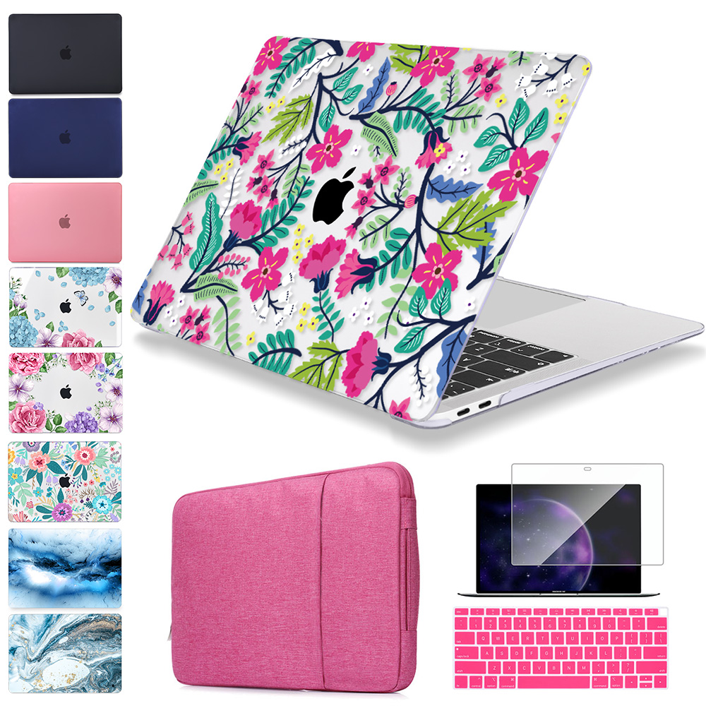 Laptop Bag Sleeve For MacBook Air Pro Retina 11 12 13 15 Inch A1932 Pro 13.3 2019 Touch Bar A2159 Plastic Hard Case Cover+Gift
