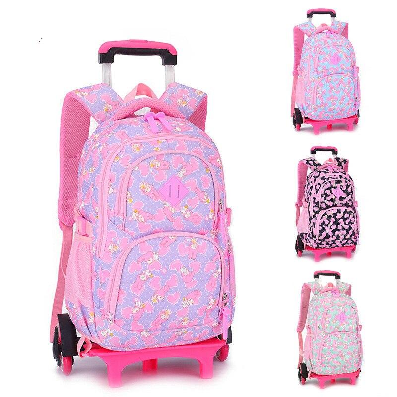 Removable Children School Bags with 2/3 Wheels for Girls Trolley Backpack Kids Wheeled Bag kids Bookbag travel luggage Mochila