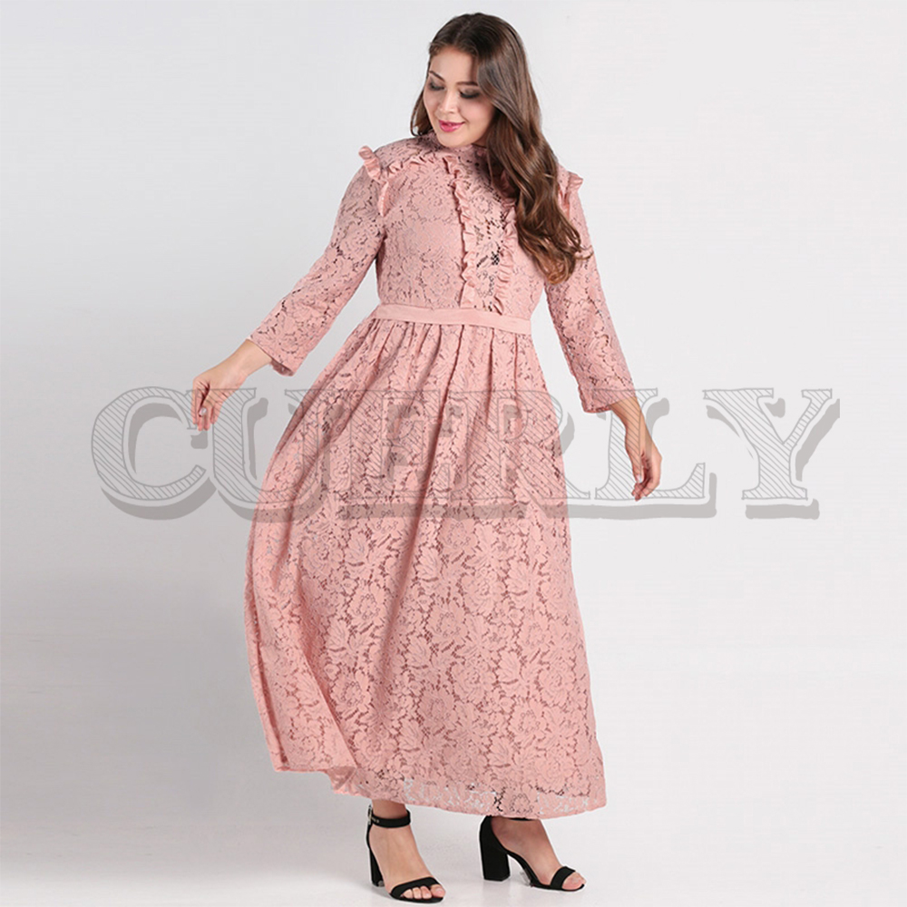 CUERLY Elegant lace long dress women plus size Long sleeve mesh hollow out maxi Autumn female embroidered party vestidos