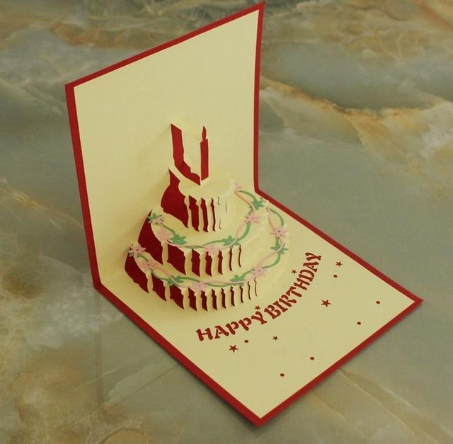Birthday gift 3d three dimensional greeting card multicolour cake ...