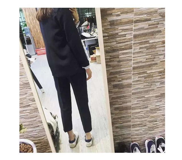 Business Women Pencil Pant Suits 2 Piece Sets Black Solid Blazer + Pant Office Lady  Jacket Female suit OversizingS-4XL
