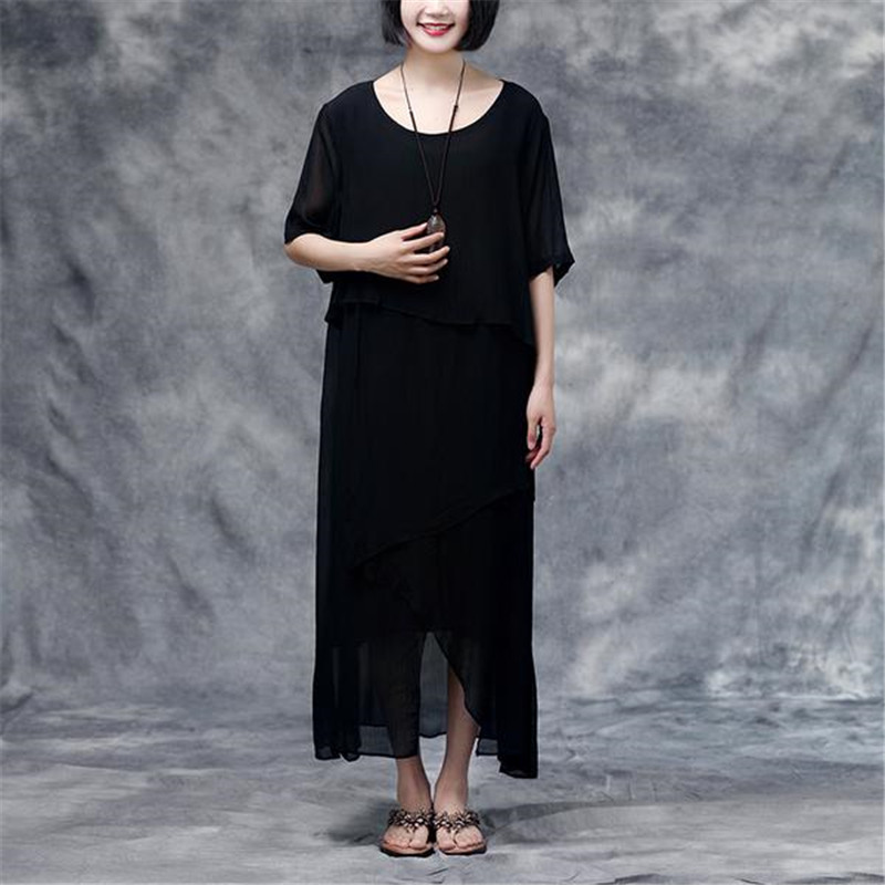 US $85.0 |BUYKUD Solid Maxi Dress Plus Size Chiffon Dress 2018 Summer New  Short Sleeve Black Round Neck Casual Slit Dress-in Dresses from Women\'s ...