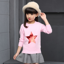 2017 Design Baby Girl Knitting Sweater Sequins Clothes Children Knitted Tops Girls Knitwear Pullover For 2 3 4 5 6 7 8 9 10 Year