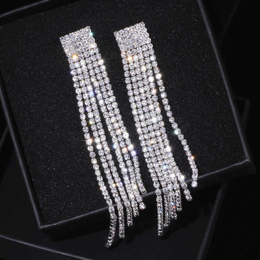 ... New Silver Color Rhinestone Crystal Long Tassel Earrings for Women Bridal  Drop Dangling Earrings Brincos Wedding ... 1a16de9798c0