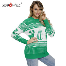 SEBOWEL Winter Christmas Knitted Pullover Sweater Women 2018 Tree and Reindeer Sweater Tops O-neck Jumper Pullovers Sweaters XXL crew collar christmas sweater with reindeer graphic