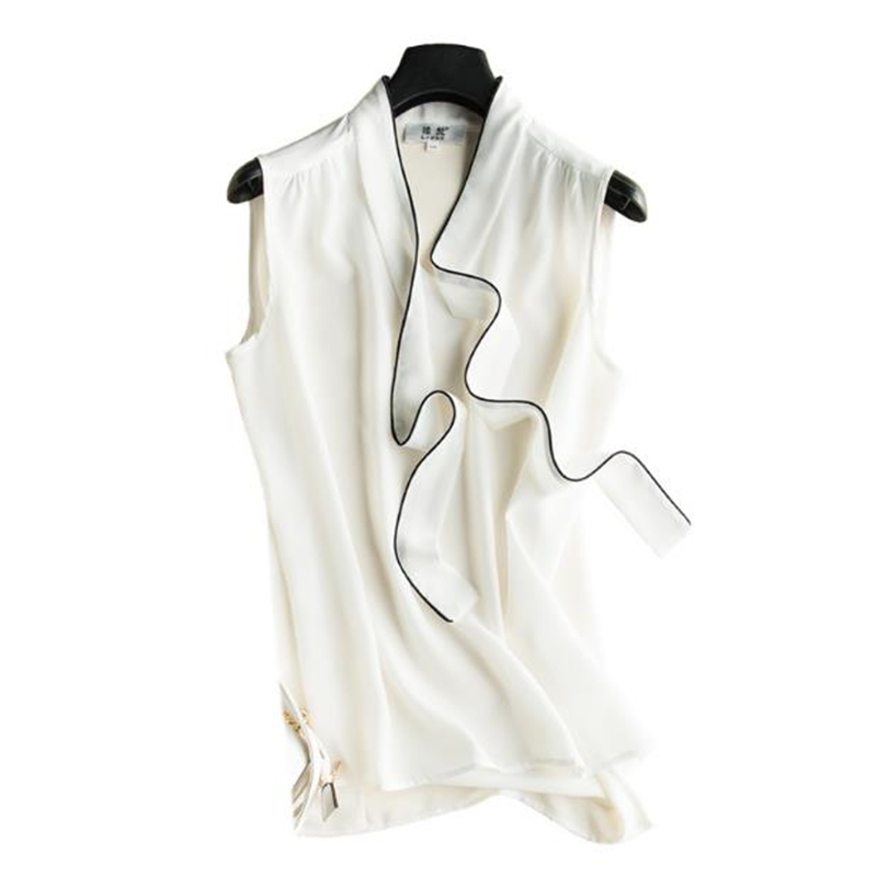 Woman Summer 100 Silk Blouse Female Oversized Thin Breathable Silk Shirts Women Silk Tops Gilet Lady