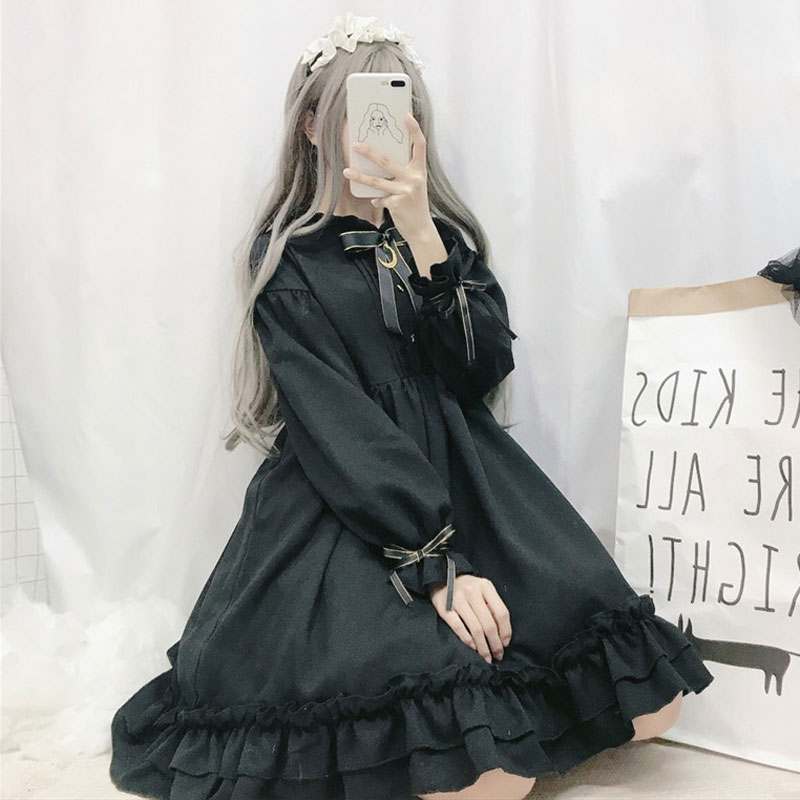 <font><b>Lolita</b></font> <font><b>dress</b></font> soft sister wind retro dark cute bow moon <font><b>lolita</b></font> skirt ruffled cute image