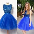 Short Homecoming Dresses 2016 Sleeveless Scoop Zipper Tulle with Beading Knee Length 2016 A-line Party Dresses Formal Gowns