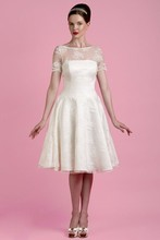 Free Shipping Fairytale Exquisite Perfect A Line Knee Length Wedding Dress Short Sleeve WX11646