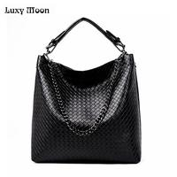 New 2018 Woven handbags Large Leather Totes female knitting Vintage Crossbody Messenger Bags famous brand design shoulder bags