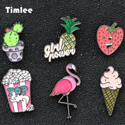 Timlee X120 Cute cartoon Cactus Flamingo Ice Cream Popcorn Strawberry Pineapple Metal Brooch Pins Button Pins Gift Wholesale