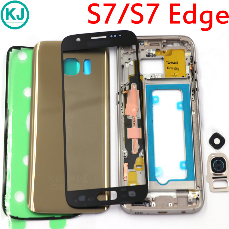 Nouveau S7 Bord/S7 Cadre Moyen Couverture Arrière de Batterie Pour Samsung Galaxy G930F G935F Plein Logement Avec Tactile En Verre lentille Autocollant Colle