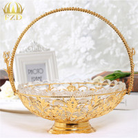 1Pcs Round Glass Fruit Serving Tray Golden Flower Decorative For Wedding Party Supplies And Home Decoration