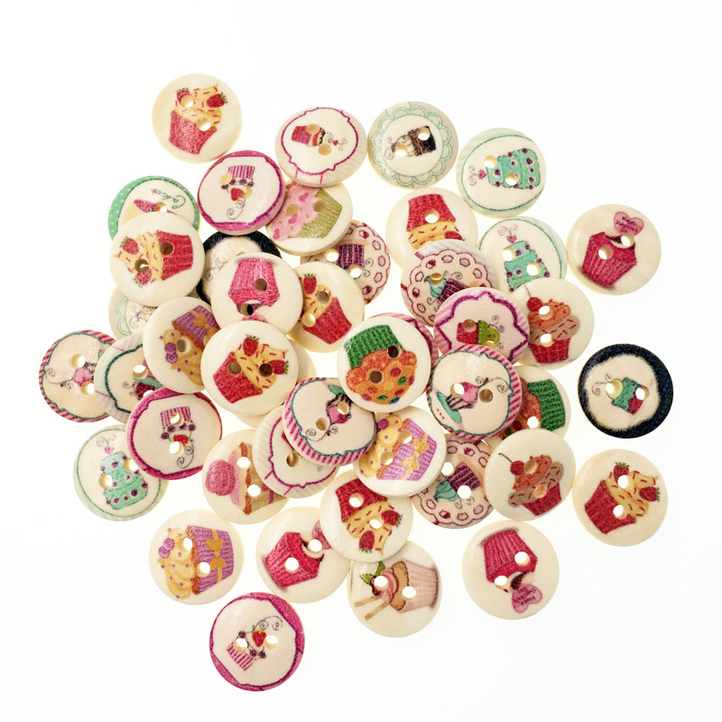 100pcs fashion bulk mixed wooden button cake sewing for Decorative buttons for crafts
