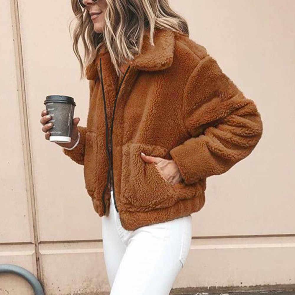 נשים טדי גבירותיי מעיל חורף מעיל חם מזדמן מעיל אופנה דש שאגי מעילי מעיל בתוספת גודל להאריך ימים יותר