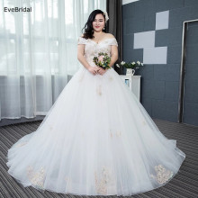 цена на EveBridal Plus Size Wedding Dress Bridal Gown Floor Length Chapel Train  Applique Beading A Line Boat Neck Cap Sleeve