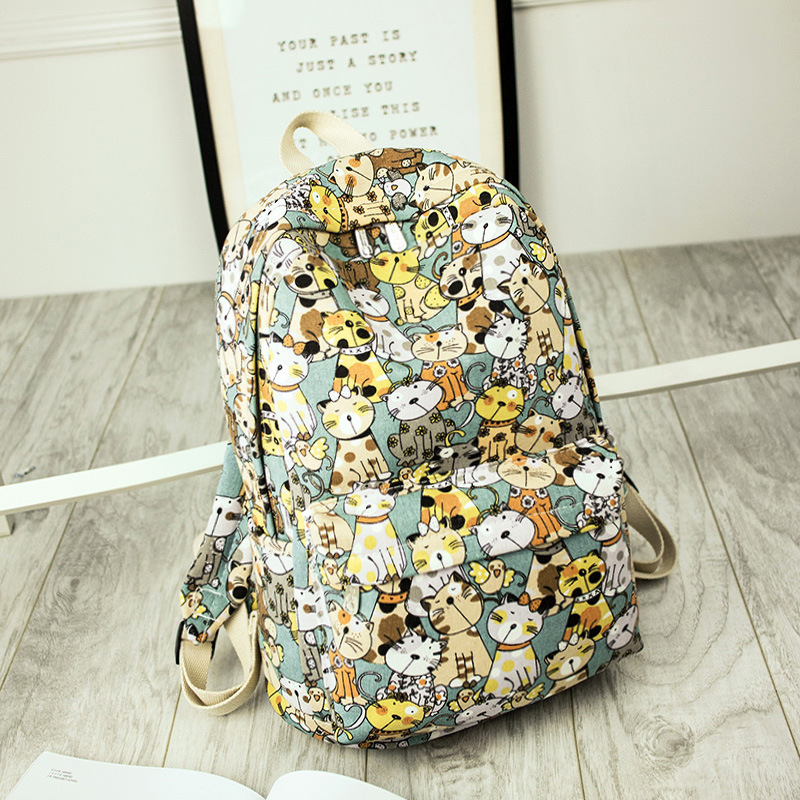 Fashion Canvas Fabric Women Backpacks Animal Cute Cat Printing Girls College Daily Laptop Book Bags Travel Bagpacks