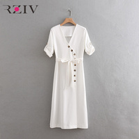 RZIV summer dress female long white dress casual V neck decorative buttons belted dress