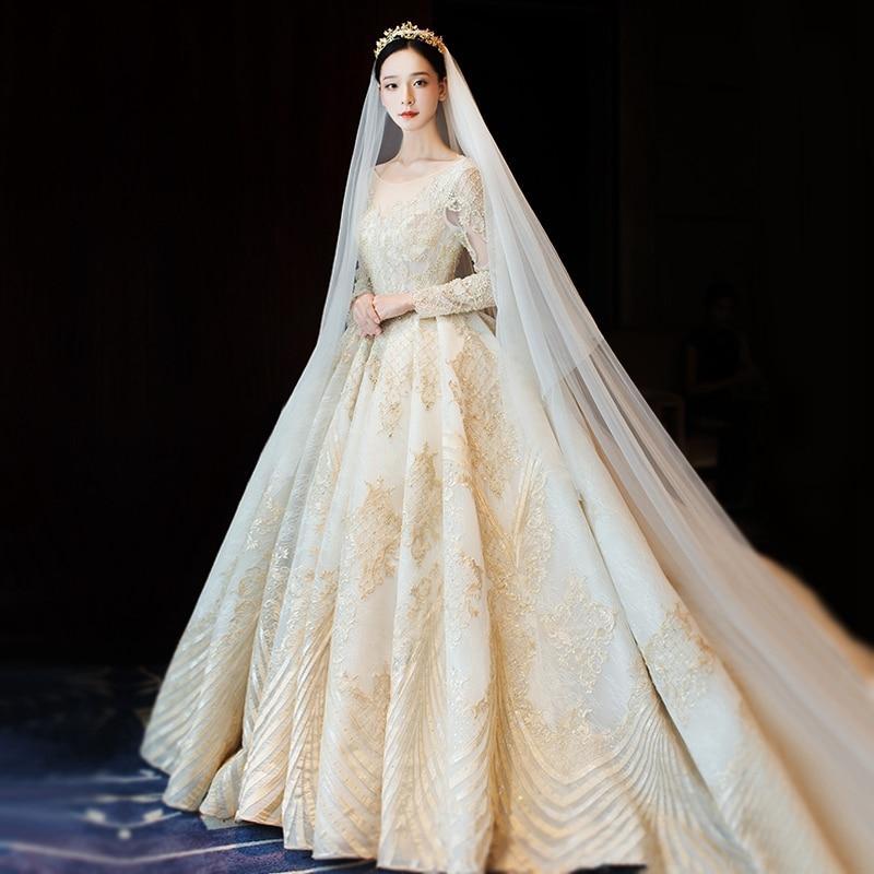 Light Gold Ball Gown Bridal Dress Vintage Muslim Plus Size