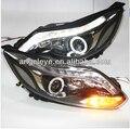 Para 2012-2014 Ano FORD Focus 3 Angel Eyes LED Head Light com Bi Xenon Lente Do Projetor DZG