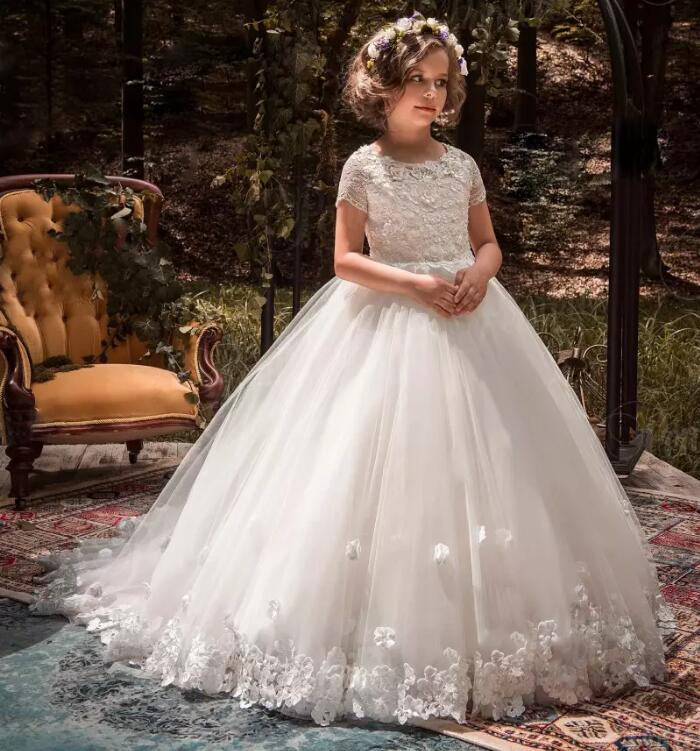 White Ball Gown 3D Floral Appliqued Flower Girls Dresses For Wedding Lace Little Kids First Communion Dress Size 2 16Y