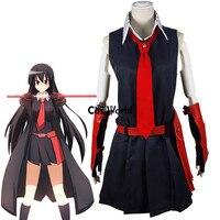 Akame ga KILL Akame Black Sleeveless Dress Uniform Outfit Anime Cosplay Costumes