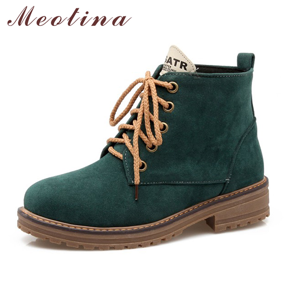Meotina Women Boots Chunky Low Heels Motorcycle Ankle Boots Winter Lace Up Martin Boots Round Toe Ladies Shoes Big Size 43 Black enmayla ankle boots for women low heels autumn and winter boots shoes woman large size 34 43 round toe motorcycle boots