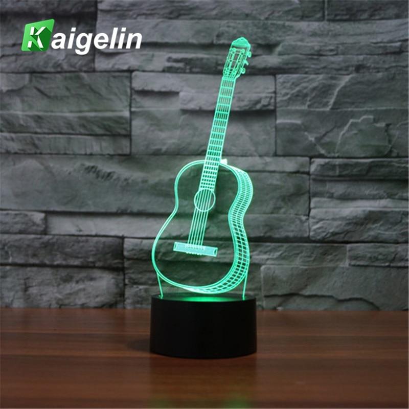 3D լամպի կիթառ USB Led Desk Lamp Kids Touch ցուցիչ Lava լամպ 7 գույներ, որոնք փոխում են երեխաների գիշերային թեթև մթնոլորտը LED սեղանի թեթև