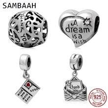 Sambaah Thank You Envelope Dangle Charm 925 Sterling Silver Wish Were Here Postcard Beads fit Pandora Thanksgiving Bracelet