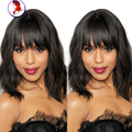 Fashion Natural Wave Human Hair Wig Full Bangs Lace Front Wigs Virgin Malaysian Full Lace Wigs Black Women With Baby Hair