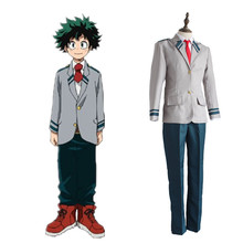Izuku Midoriya cosplay kostymer Skoluniformer Japanska anime Min hjälte Academia cosplay kläder (topp + pante + slips)