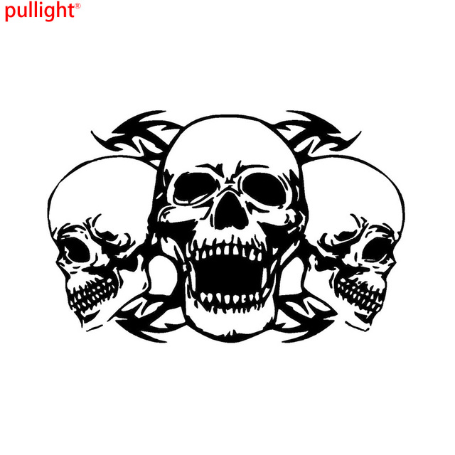 Personalized Custom Triple Skull Car Stickers Interesting - Motorcycle bumper custom stickers